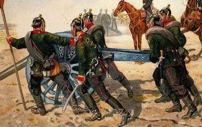 Artillería prusiana en Sedan.