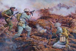 Tropas del Viet Minh atacando una posición fortificada en Dien Bien Phu con subfusiles PSSh-41