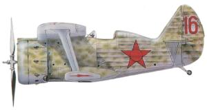 """Polikarpov I-153 """"Chaika"""" con camuflaje moteado, Unión Soviética, 1938-39."""