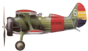 "Polikarpov I-15 ""Chato"" republicano de Juan Comas."