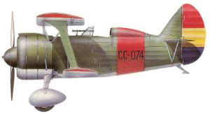 """Polikarpov I-15bis """"Super Chato"""" republicano, 1938-39."""