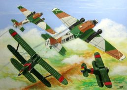 Varios Polikarpov I-15 republicanos atacan a dos Junkers Ju 52 nacionales.