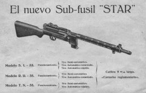 Diferentes modelos de este subfusil. También se fabricaron modelos en otros calibres para una posible exportación.