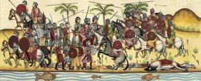 Representación sobre la victoria musulmana sobre los soldados de Don Rodrigo.