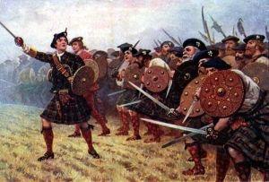 Soldados jacobitas al comienzo de los combates en Culloden.