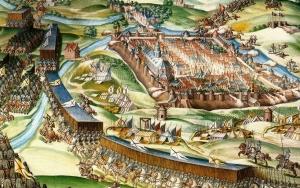 Lámina que representa la batalla de San Quintín.