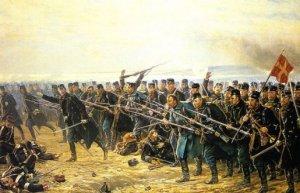 La 8º Brigada en acción durante la batalla de Dybbol, 18 de abril de 1864.