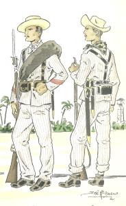 Infantería española durante la Guerra de Cuba (1898).
